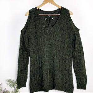 TORRID• olive green cold shoulder sweater